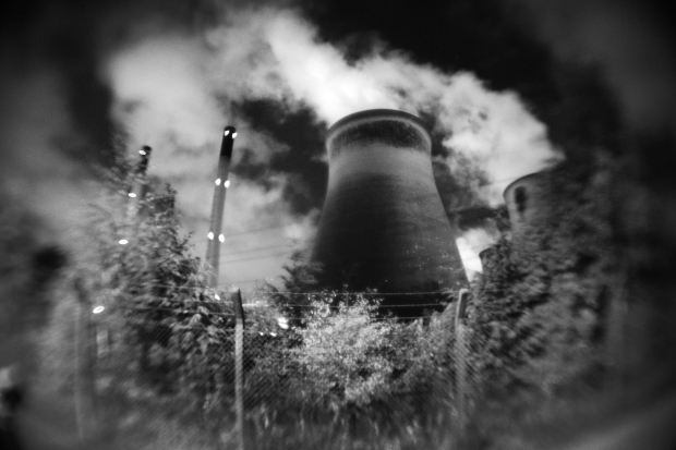Ferrybridge Power Station at night, shot with a Nikon D5300 using a 50mm f1.8g and 0.21x fisheye adapter