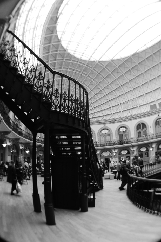 Staircase in Leeds Corn Exchange, shot with Nikon D5300, 35mm DX G lens and 0.21x fisheye adapter